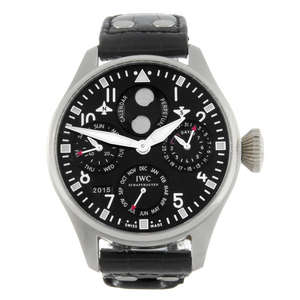 http://www.fellows.co.uk/1578-lot-107-IWC-a-limited-edition-gentleman-s-platinum-Big-Pilot-Perpetual-Calendar-wrist-watch?arr=0&auction_id=9239&box_filter=0&department_id=&exclude_keyword=&export_issue=0&high_estimate=0&image_filter=0&keyword=107&list_type=&lots_per_page=&low_estimate=0&page_no=0&paper_filter=0&search_type=&sort_by=&view=lot_detail&year=
