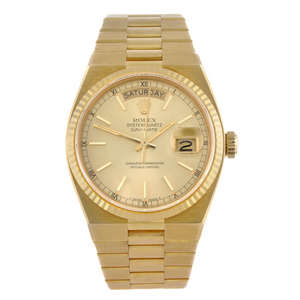 ROLEX - a gentleman's 18ct yellow gold Oysterquartz Day-Date bracelet replica watch.