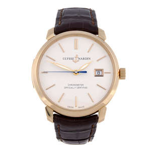 ULYSSE NARDIN - a gentleman's 18ct rose gold Classico wrist replica watch