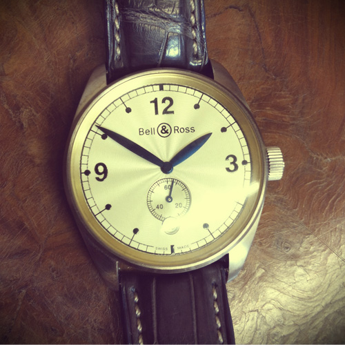 An 18k grey gold automatic gentleman's Bell & Ross Vintage 123 Collection wrist replica watch