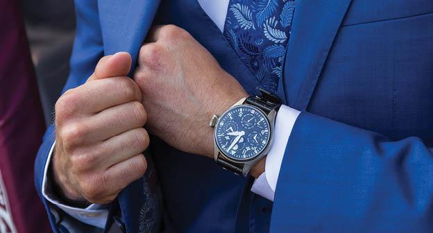 IWC - a limited edition gentleman's platinum Big Pilot Perpetual Calendar wrist replica watch.