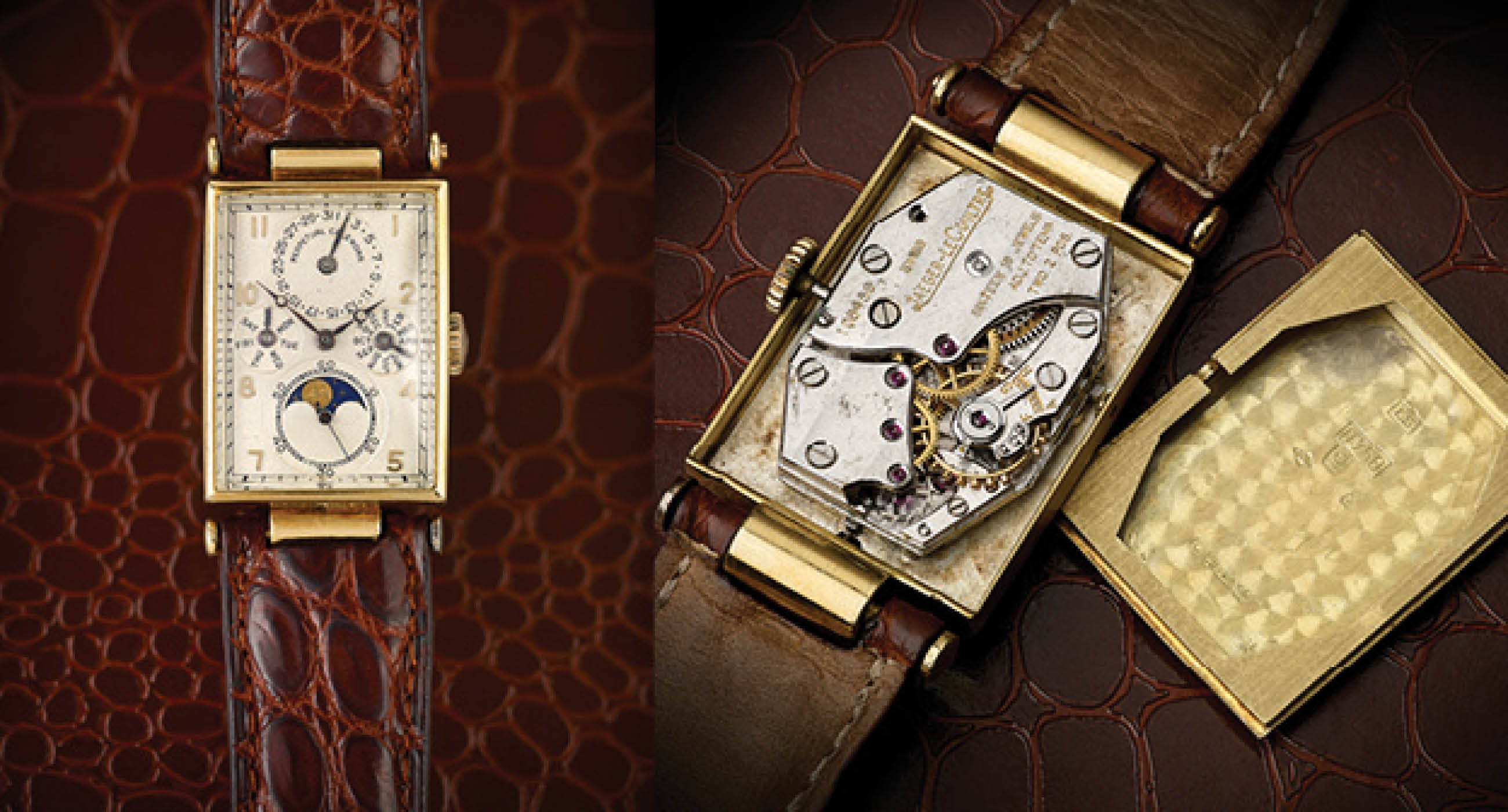 You Will Love This Rectangularl Yellow Gold Jaeger-LeCoultre Perpetual Calendar Replica Wristwatch