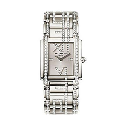Ladies Patek Philippe Twenty~4 Stainless Steel Diamonds Replica Watch 4910/48G