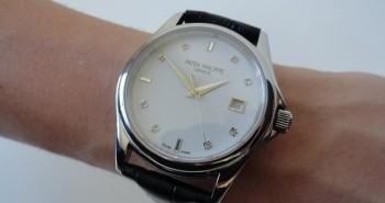 The Polished White Gold Patek Philippe Calatrava Date Watch Replica