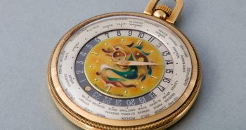 18 karat Yellow Gold Patek Philippe World Time Cloisonné Enamel Dial Replica Watches