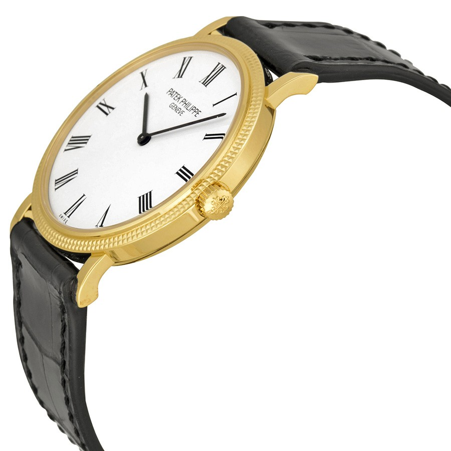 Patek Philippe Calatrava Automatic White Dial Black Leather Men's Watch 5120J-001