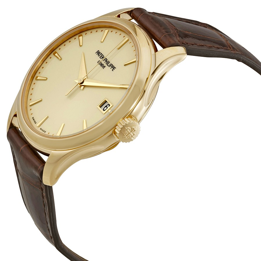 Patek Philippe Calatrava Ivory Dial 18kt Yellow Gold Brown Leather Men's Watch 5227J-001