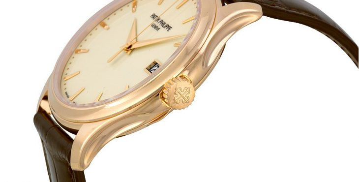 Patek Philippe Calatrava Mechanical Ivory Dial Leather Men's Watch Item No. 5227R-001