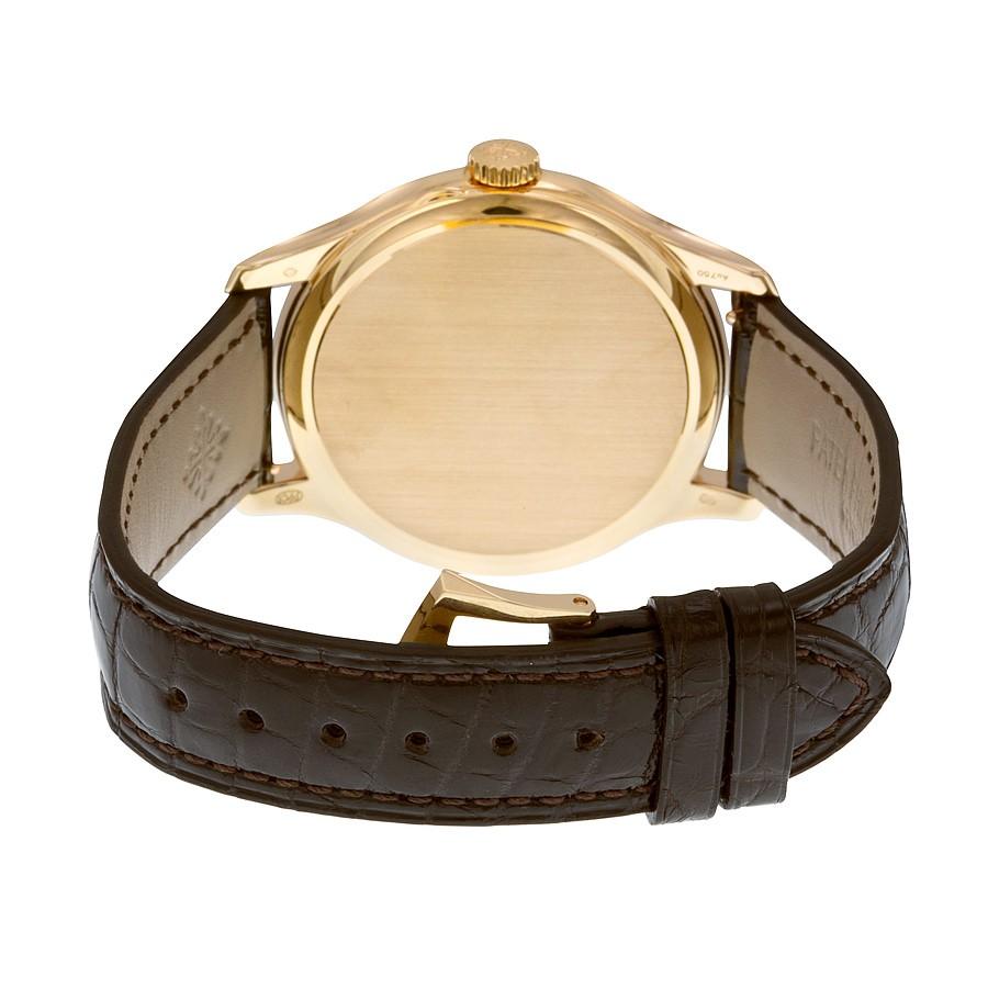 Patek Philippe Calatrava Mechanical Ivory Dial Leather Men's Watch 5227R-001