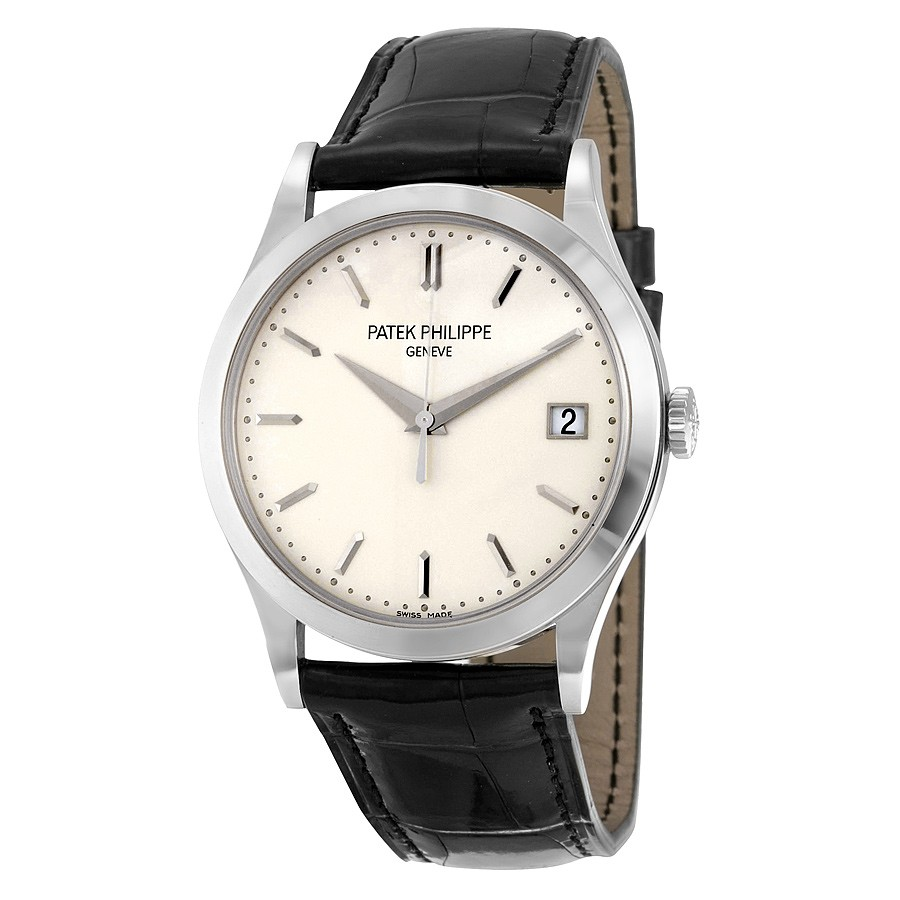 Patek Philippe Calatrava Opaline White Dial 18kt White Gold Men's Watch 5296G-010