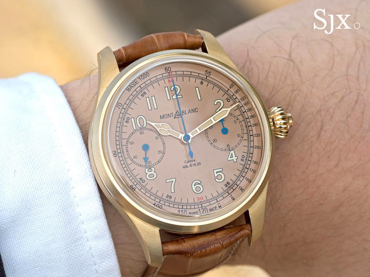 Montblanc 1858 Chronograph Tachymeter Salmon Bronze wrist shot