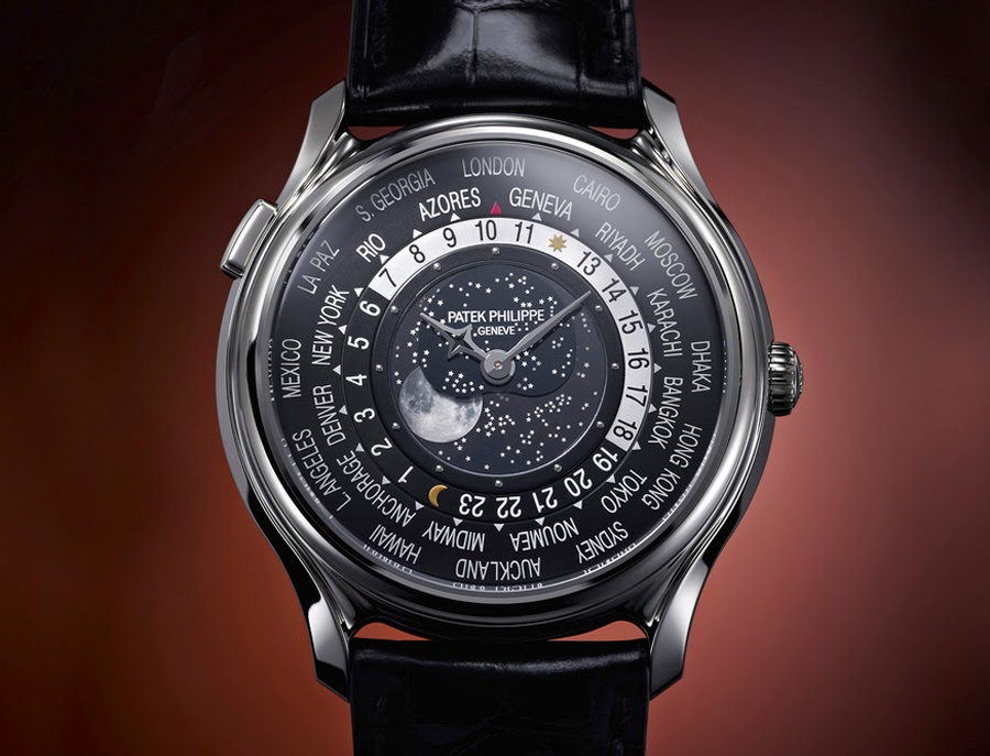 Choose The Cheap Complications Replica Patek Philippe World Time Moon Steel Case Black Dial Watch Ref. 5575