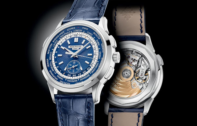 The Cool and Masculine Blue Dial Patek Philippe Complications World Time Chronograph Copy Watch Ref. 5930