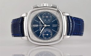 Hand On Blue Dial Patek Philippe Ladies First Chronograph Fake Watch 7071G