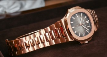 A Pair Of Universal Geneve 2016 Patek Philippe Nautilus Rose Gold Brown Dial Automatic Watch Ref.5711/1R-001