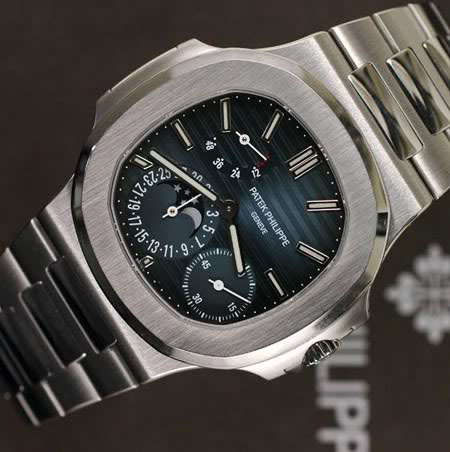 Perfect Patek Philippe Nautilus Moon Phases Power Reserve Blue Dial