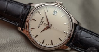 Patek Philippe Calatrava 5227G-001Mechanical Replica Watch with Ivory Dial Leather Strap