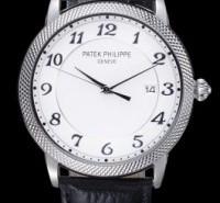 Hot Sale Patek Philippe Replica Calatrava White Gold Hobnail Patterned Bezel Watch