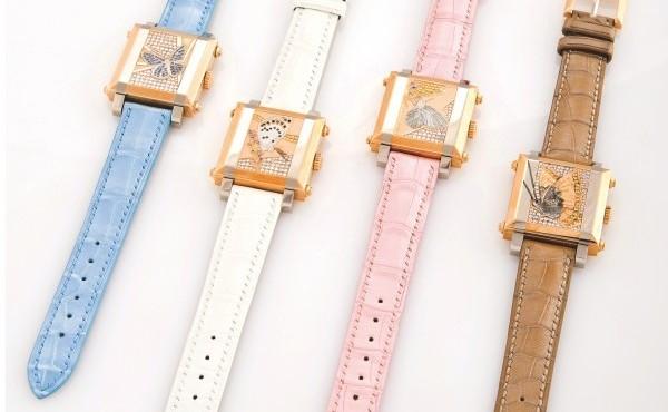18K Pink Gold Patek Philippe Gondolo Cabriolet Butterflies Leather Strap Copy Watch